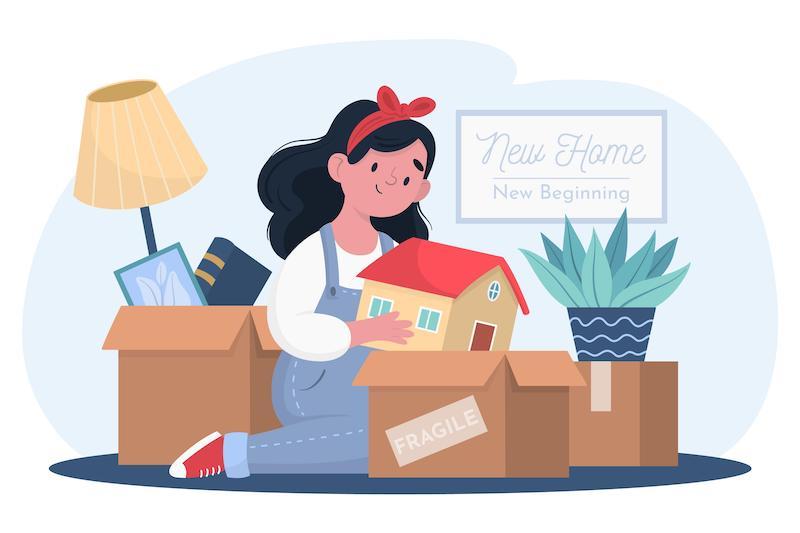 verhuizen: kind pakt dozen in