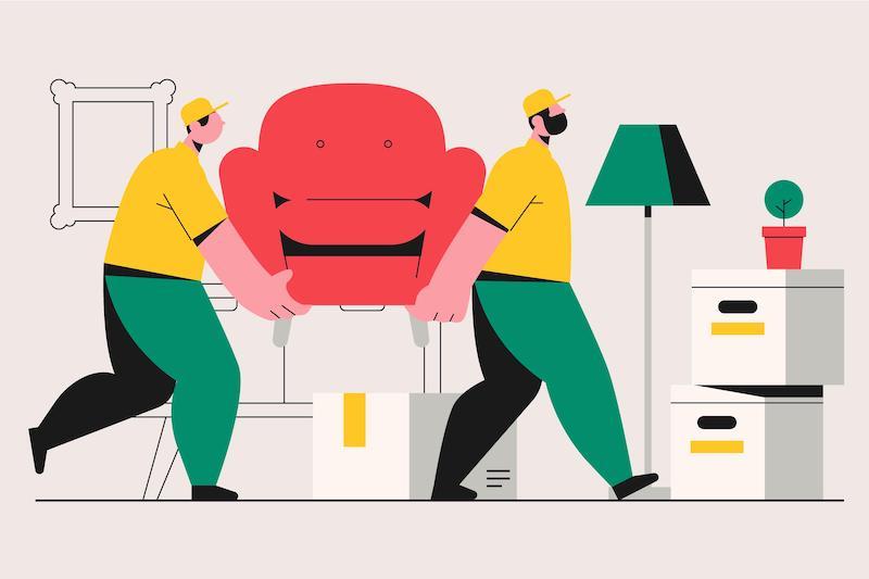 verhuizen: verhuisbedrijf tilt stoel