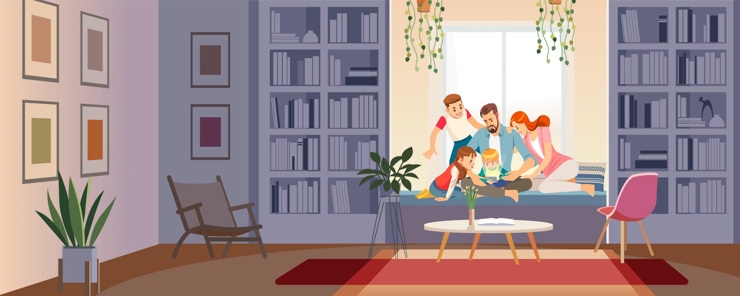 familie samen op tablet schermgebruik