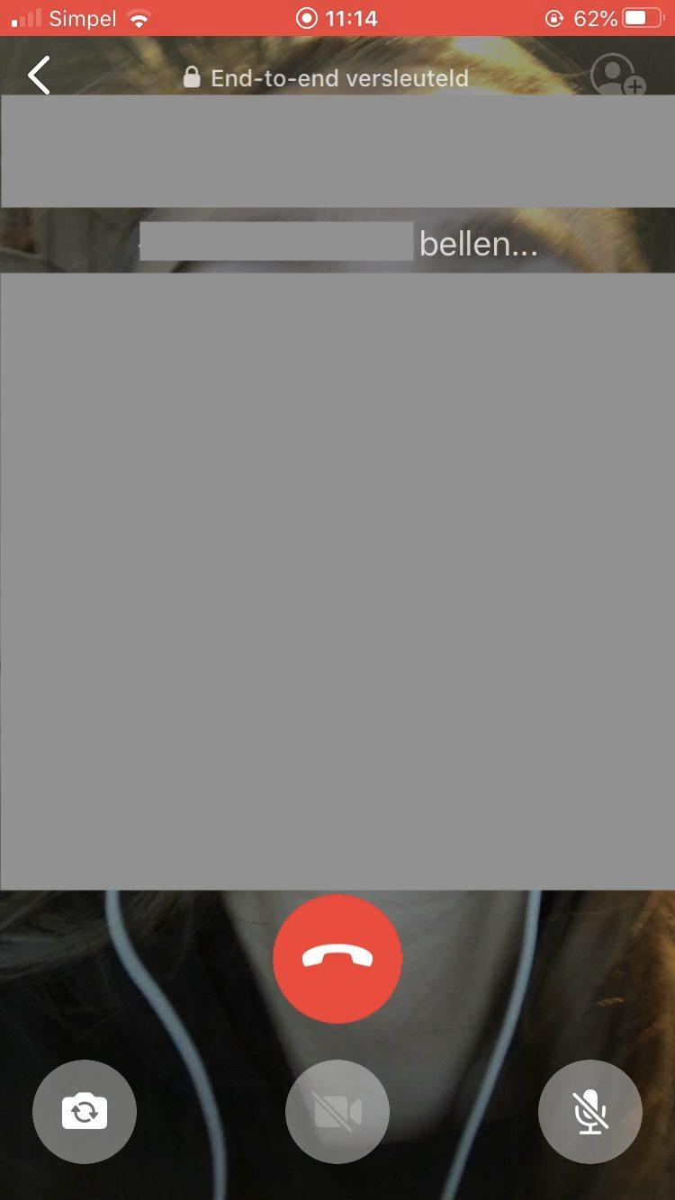 Screenshot: wachtscherm voor videogesprek op WhatsApp