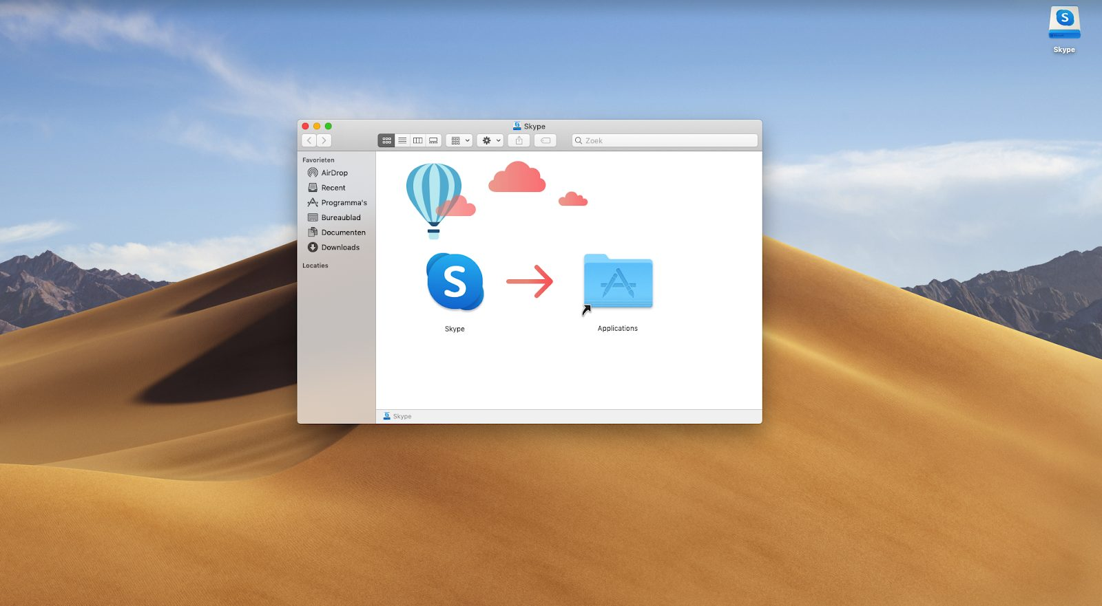 Screenshot sleep het Skype icoon naar de map 'Applicaties'