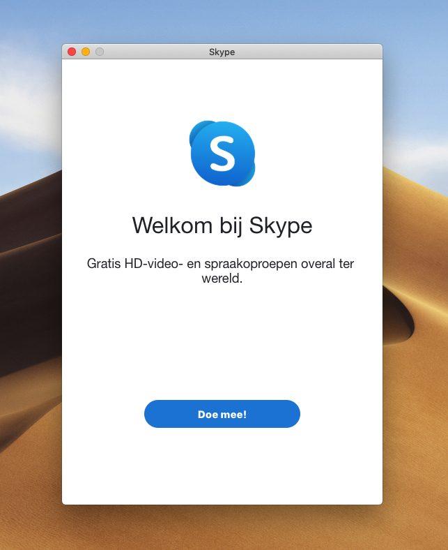 Welkomsscherm programma Skype