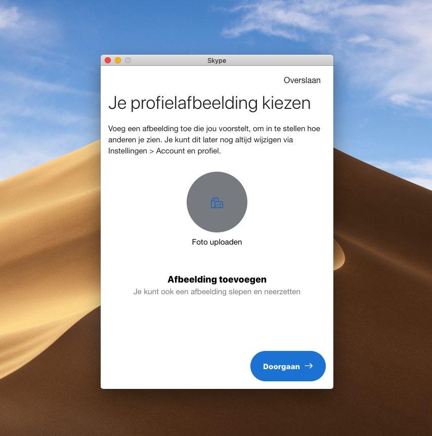 Screenshot Kies profielafbeelding Skype