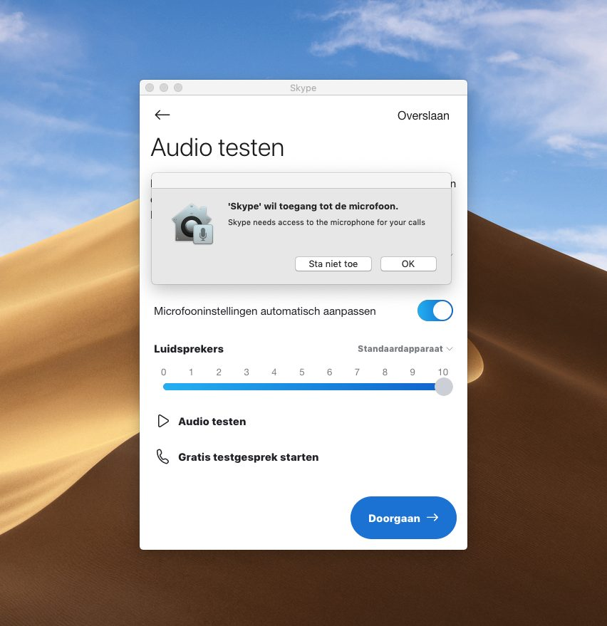Screenshot 'audio testen' Skype met waarschuwingsbericht 'Skype wil toegang tot de microfoon'