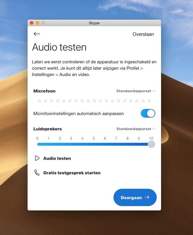 Screenshot scherm 'audio testen' Skype