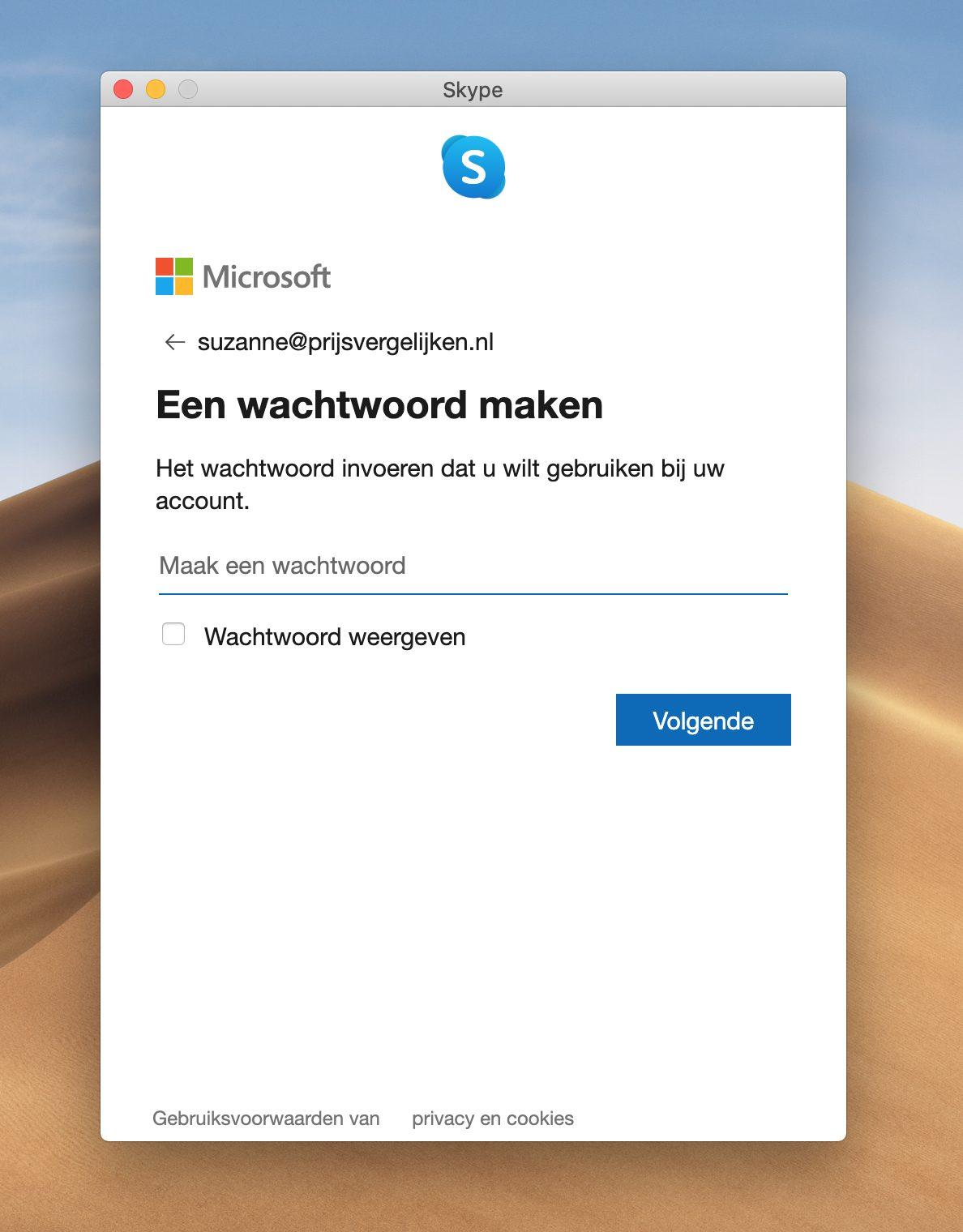 Screenshot 'een wachtwoord maken' programma Skype
