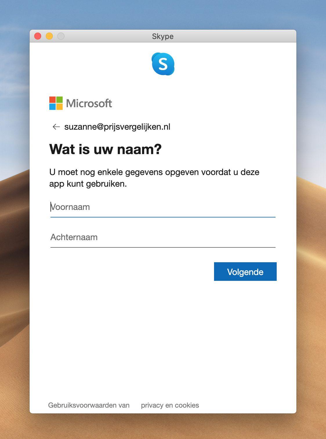 Screenshot 'voer uw naam in' Skype