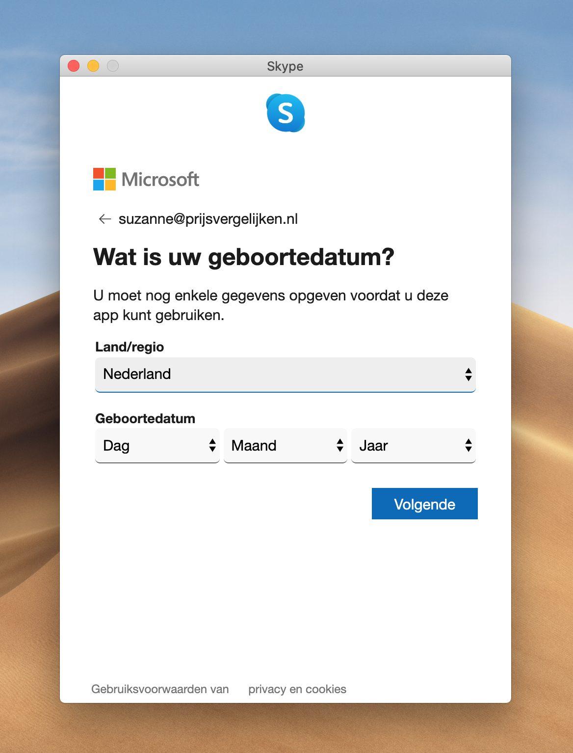 Screenshot voer uw geboortedatum in Skype