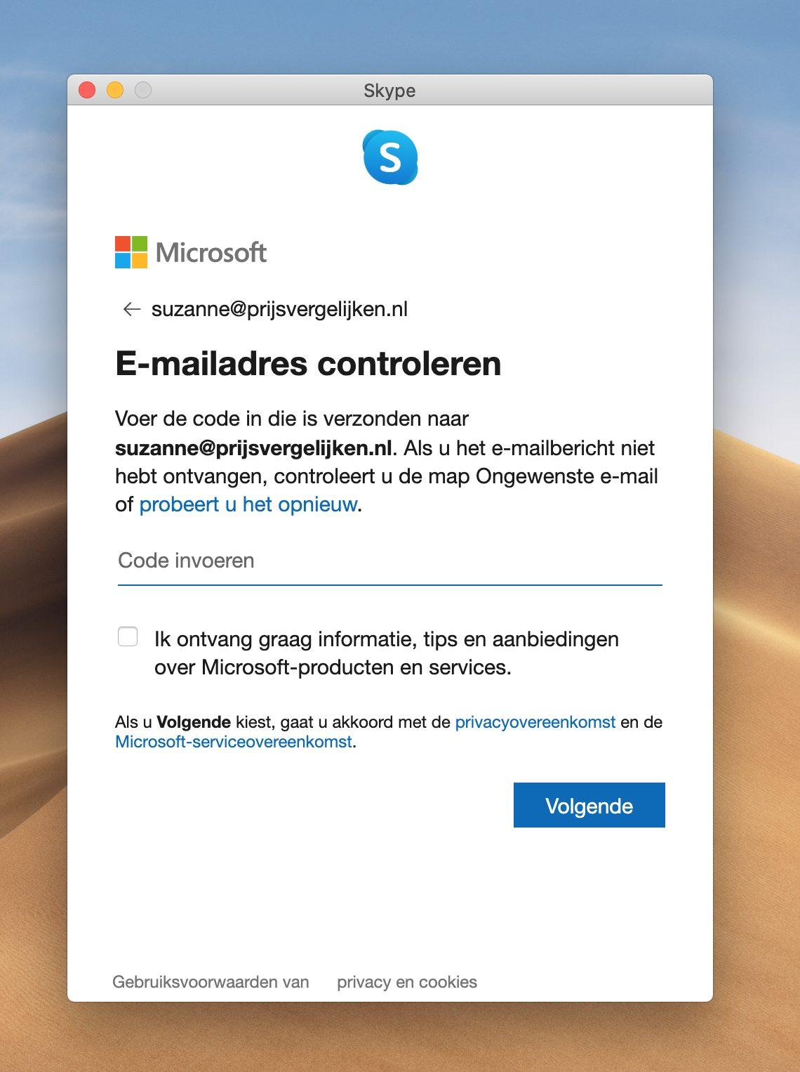 Screenshot verificatiecode invoeren Skype