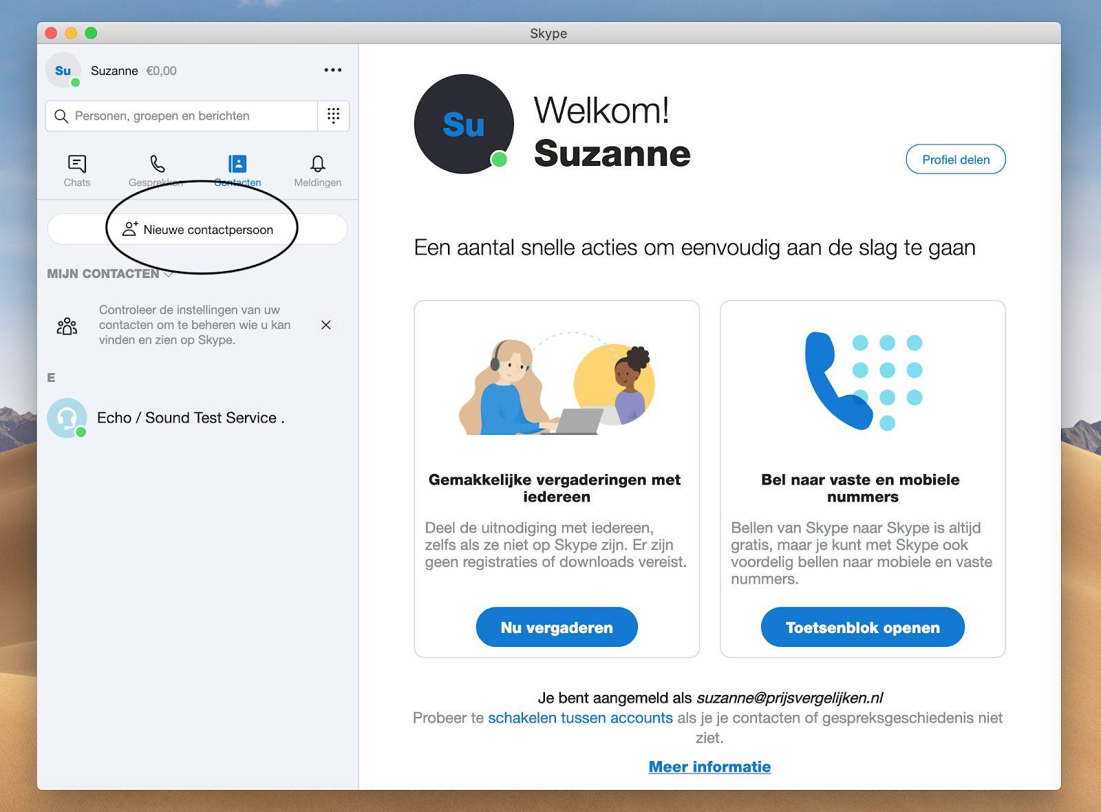 Screenshot nieuwe contactpersoon in menu Skype