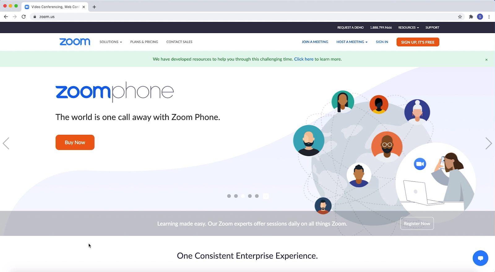 Screenshot: home page van Zoom