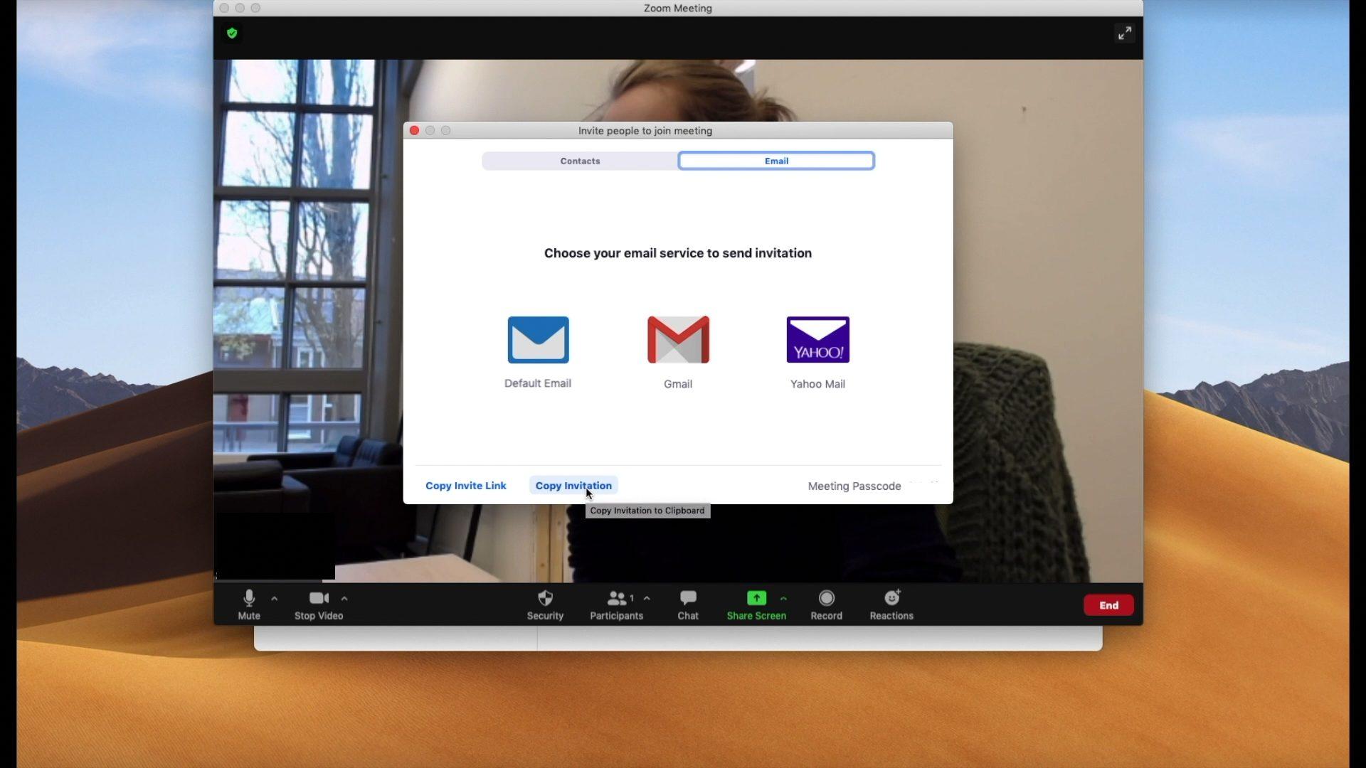 Screenshot: uitnodiging voor Zoom versturen met mail
