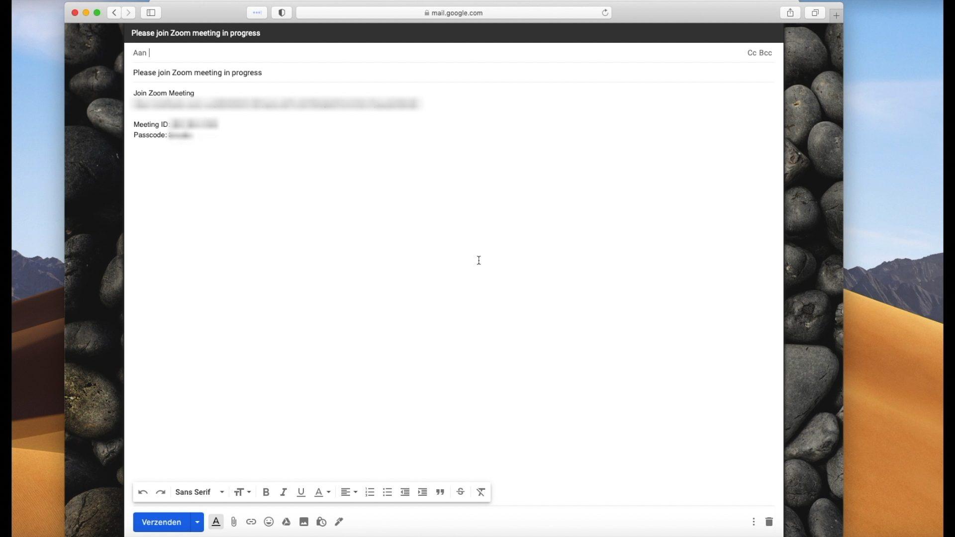Screenshot: automatische mail van Zoom voor uitnodiging