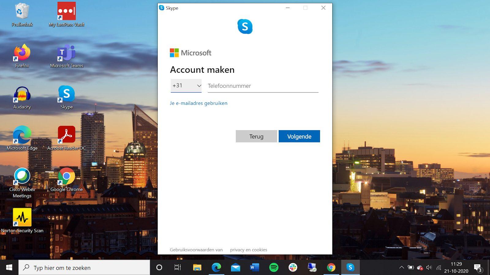 Screenshot account maken Skype