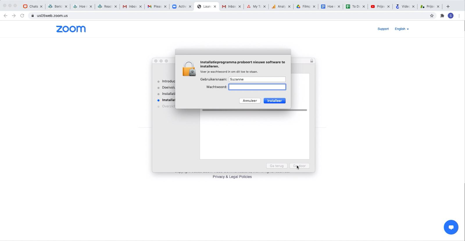 Screenshot: Zoom toestemming geven voor installatie