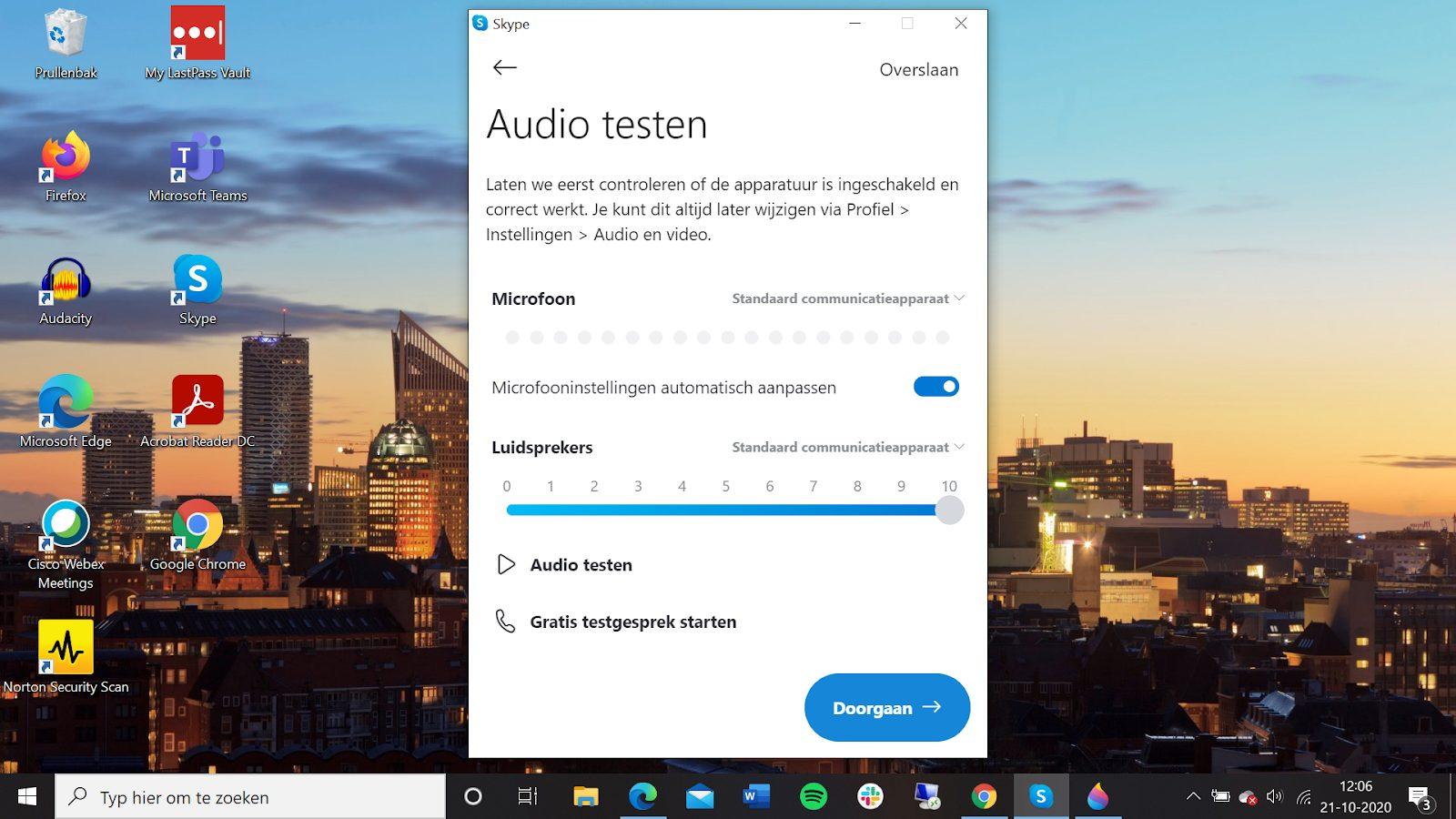 Screenshot audio testen Skype