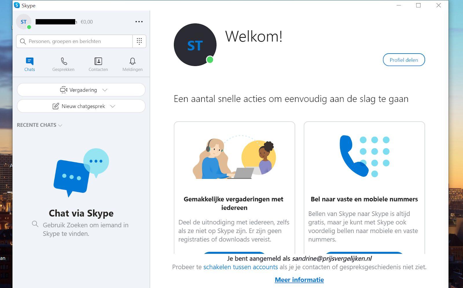 Screenshot hoofdmenu van Skype
