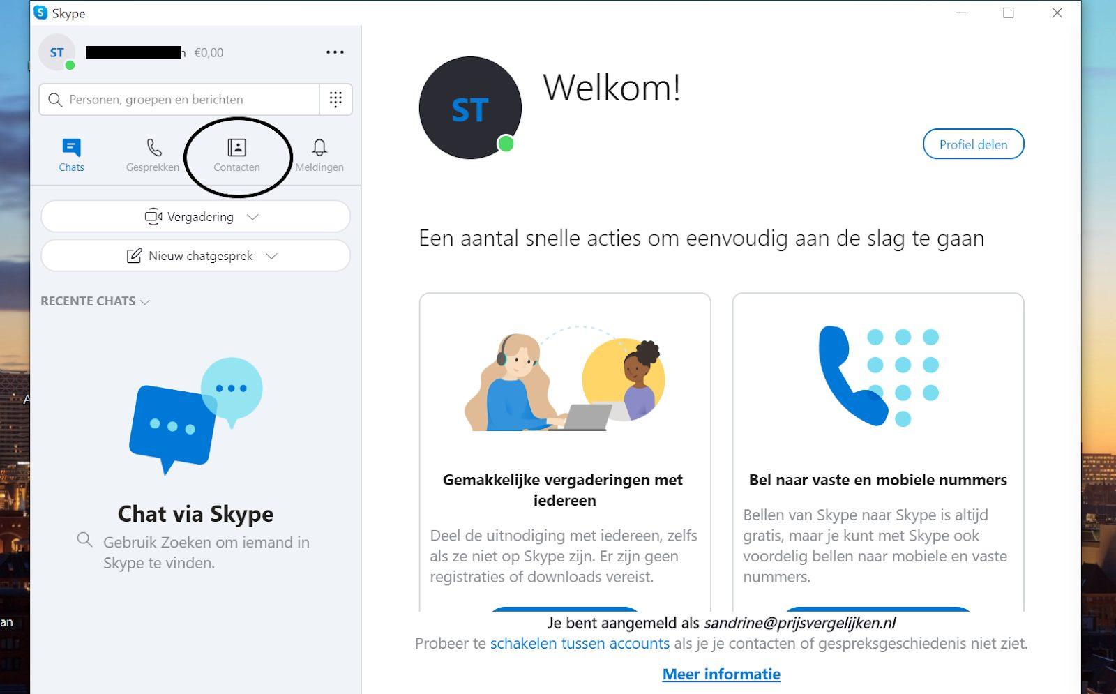 Screenshot contacten in het Skype menu