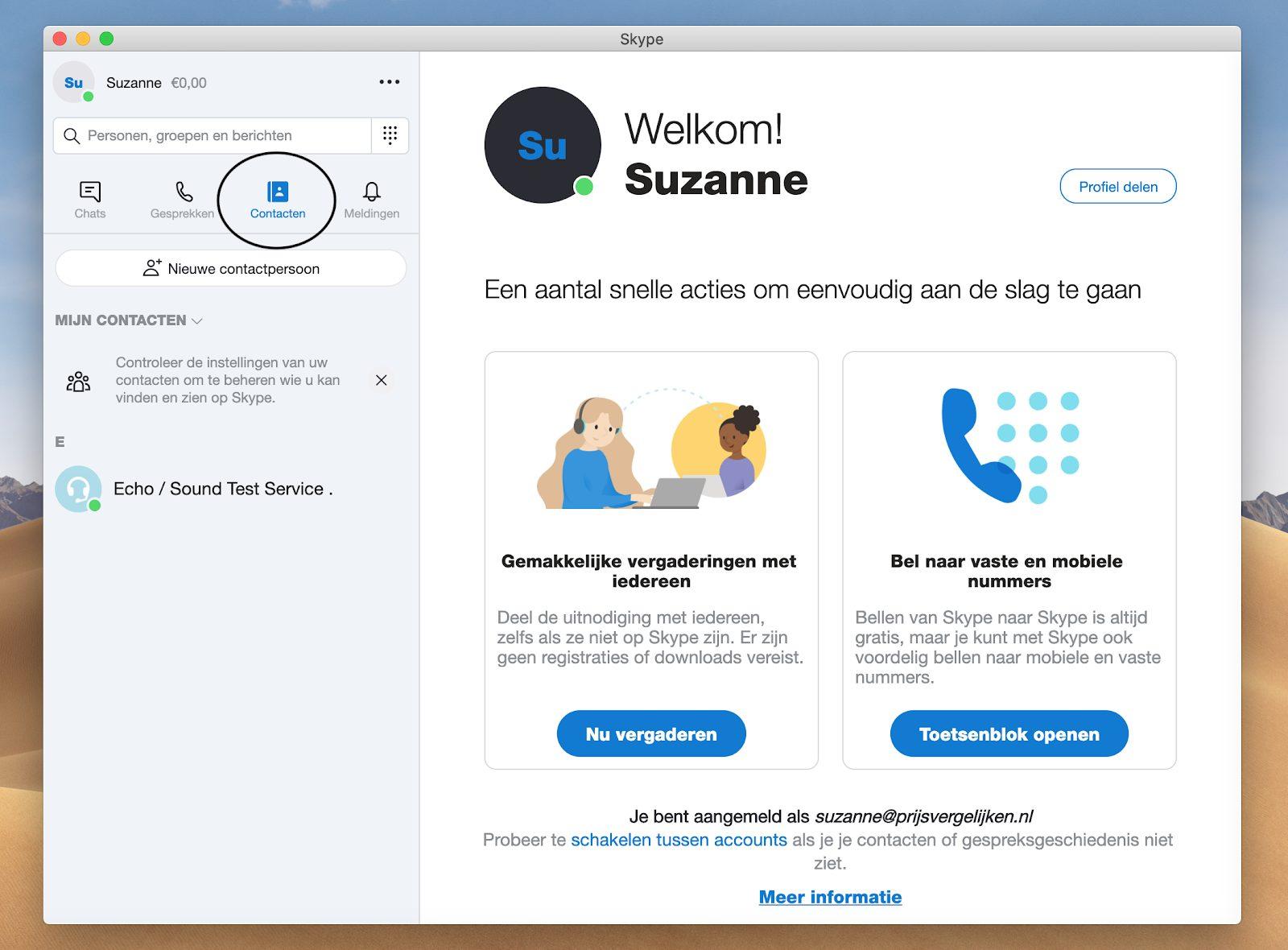 Screenshot contactenlijst in het Skype menu