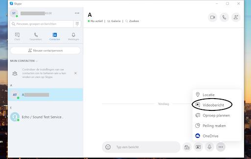 Screenshot videobericht starten Skype