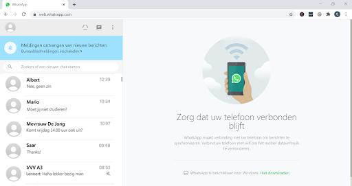 Screenshot beginscherm Web WhatsApp