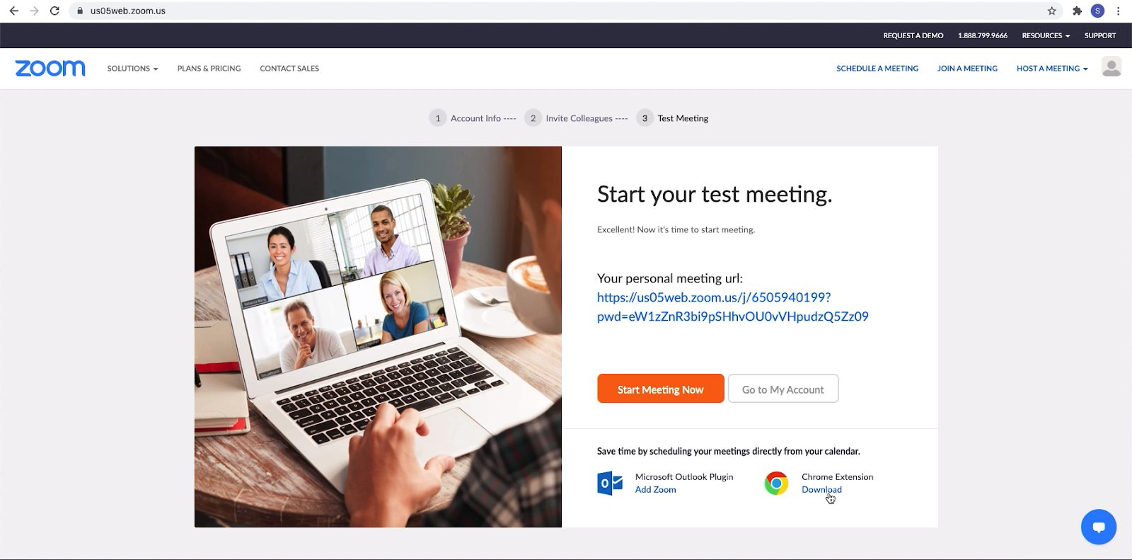 Screenshot: beginnen met test gesprek Zoom