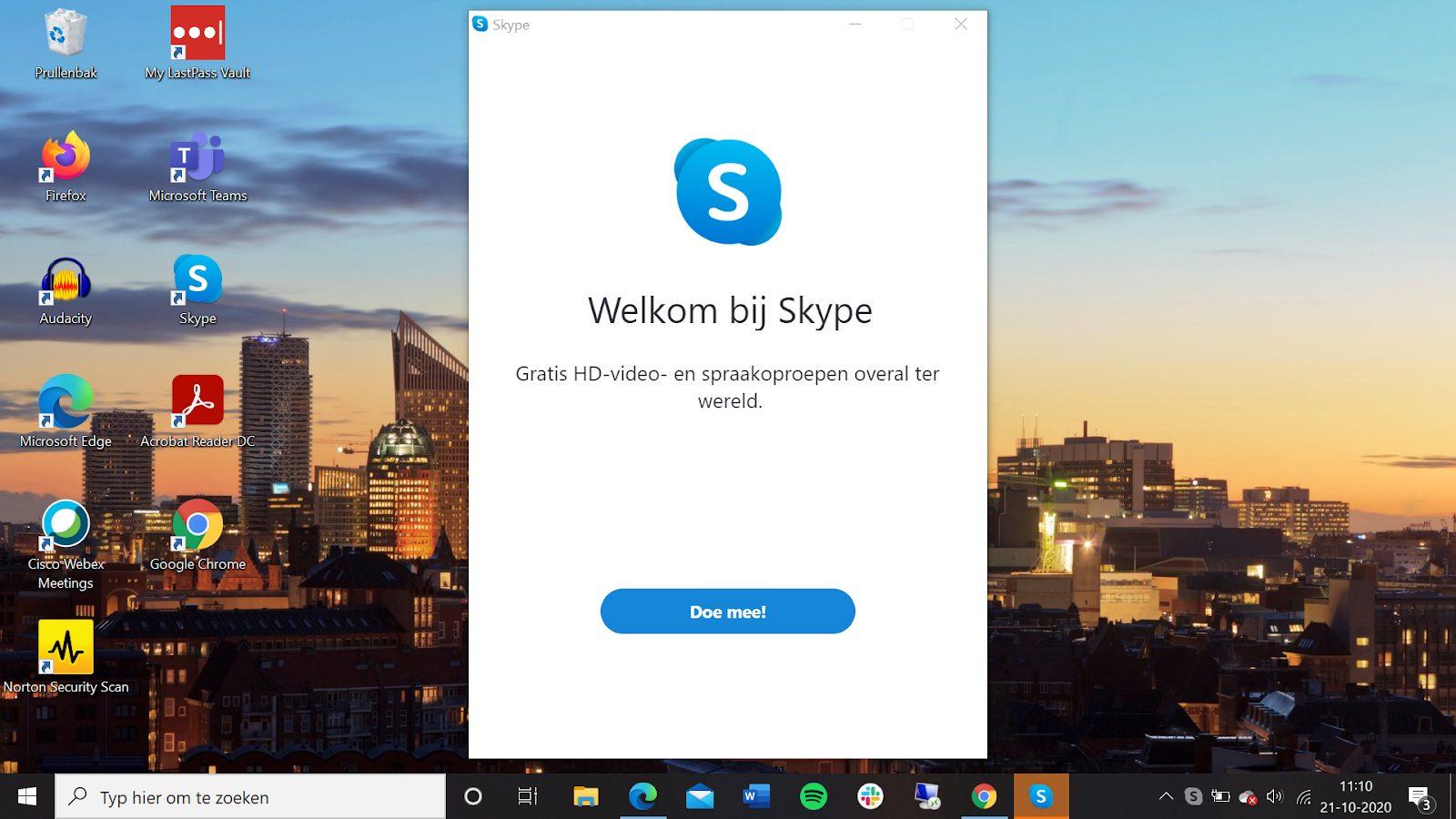 Screenshot welkomsscherm Skype