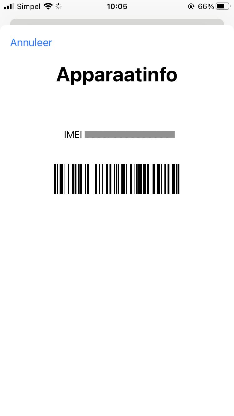 Voorbeeld IMEI nummer iPhone